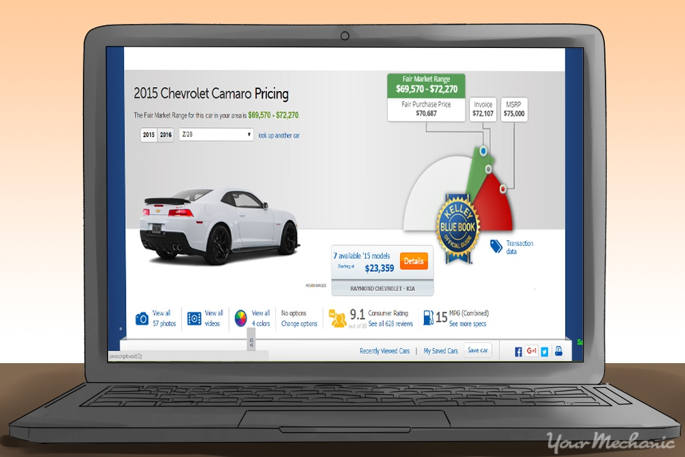 chevy camaro price listing in site on a laptop