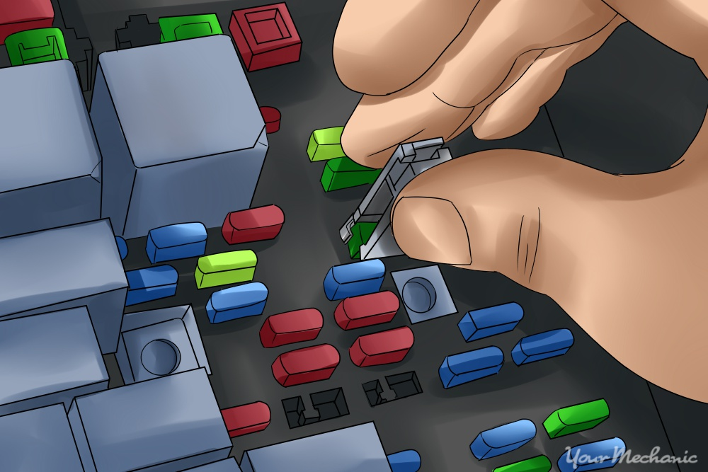 3 How to Check Fuses in Your Car picture of a hand using fuse puller to remove a fuse from the fuse box how to inspect car fuses yourmechanic advice how to check a fuse box at bayanpartner.co