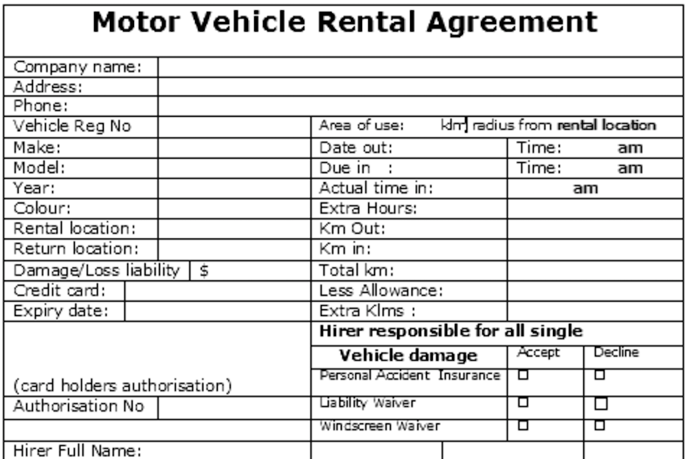 rental car agreement