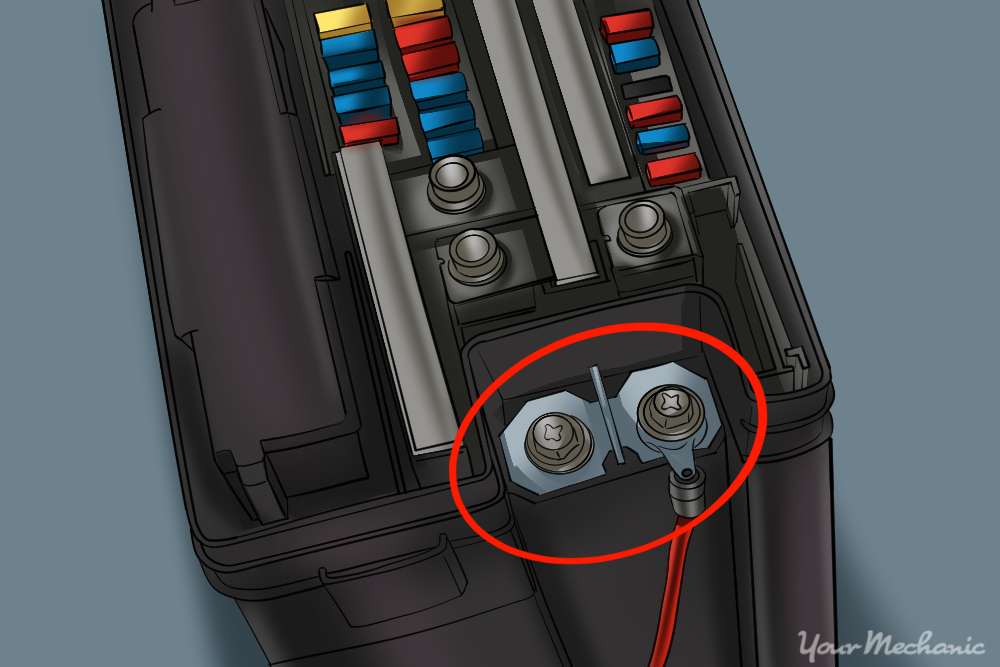 3 How to Replace Your Car Fuse Box PICTURE HIGHLIGHTING THE POSITIVE TERMINAL CONNECTED TO THE FUSE BOX how to replace your car's fuse box yourmechanic advice Broken Fuse Box at fashall.co