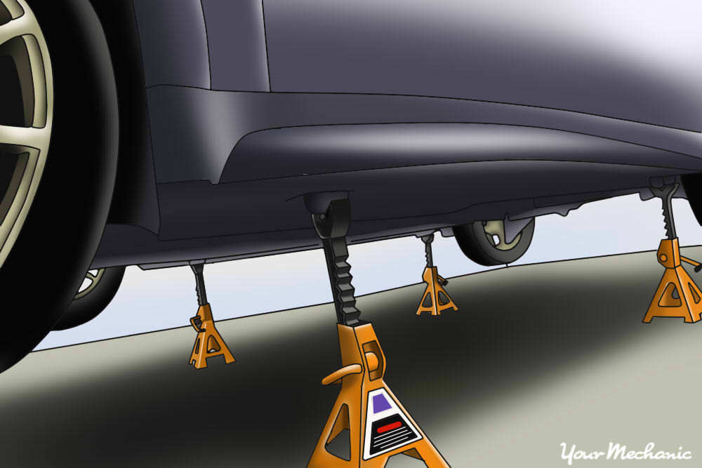 jack stands placed under the vehicle
