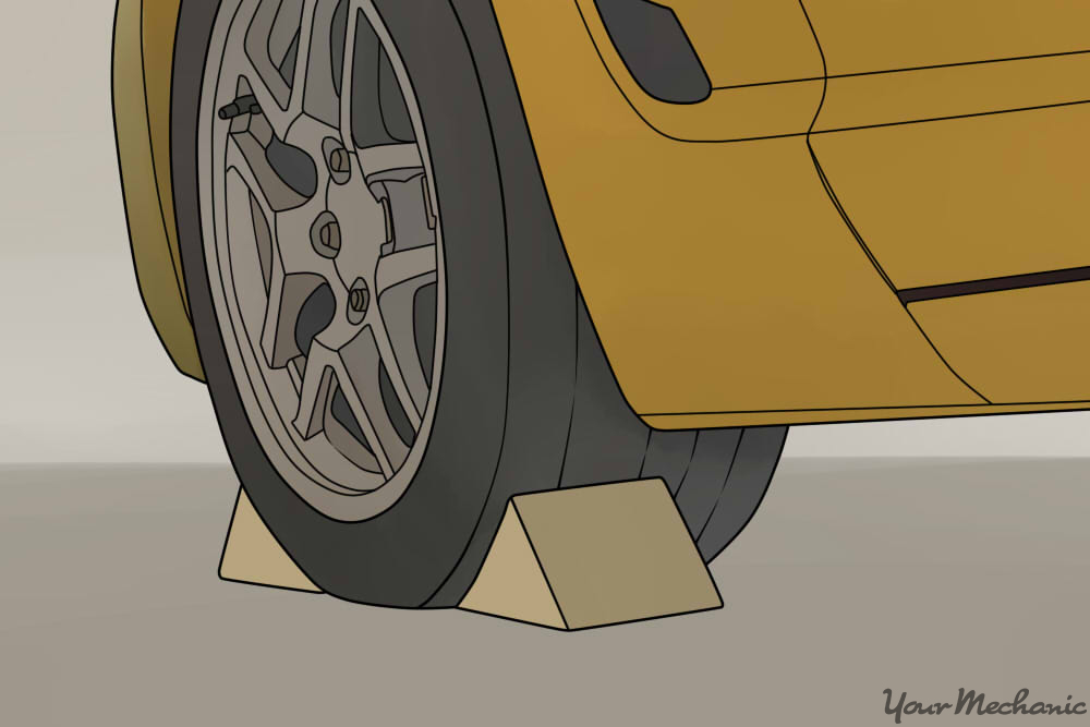 wheels chocks on front and back of wheel
