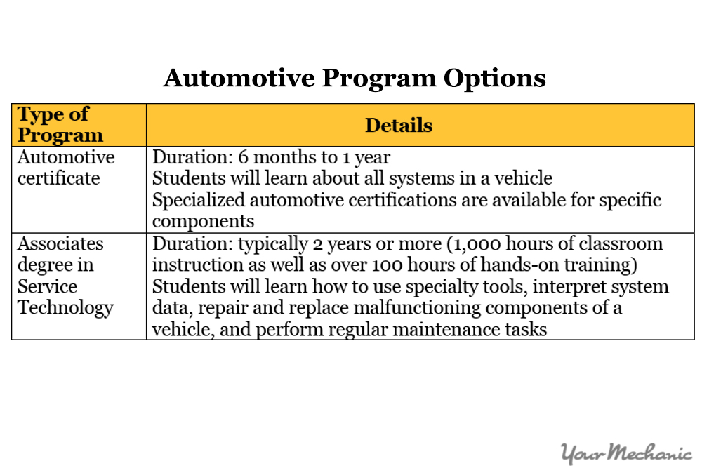 automotive program options