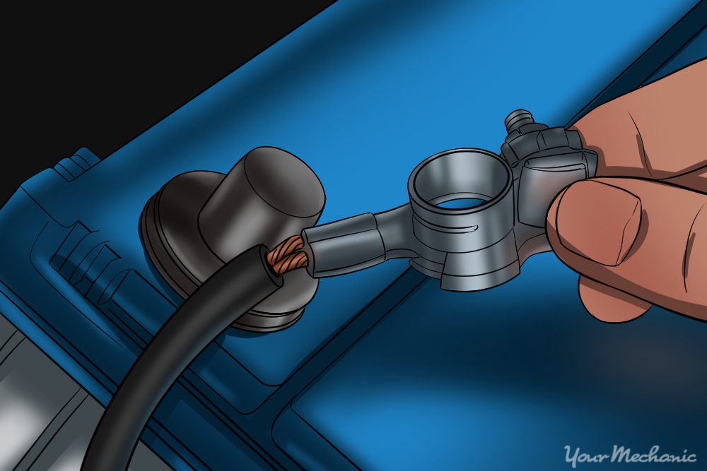 picture of mechanic removing battery terminals