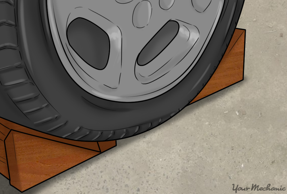wheel chocks in place around a tire