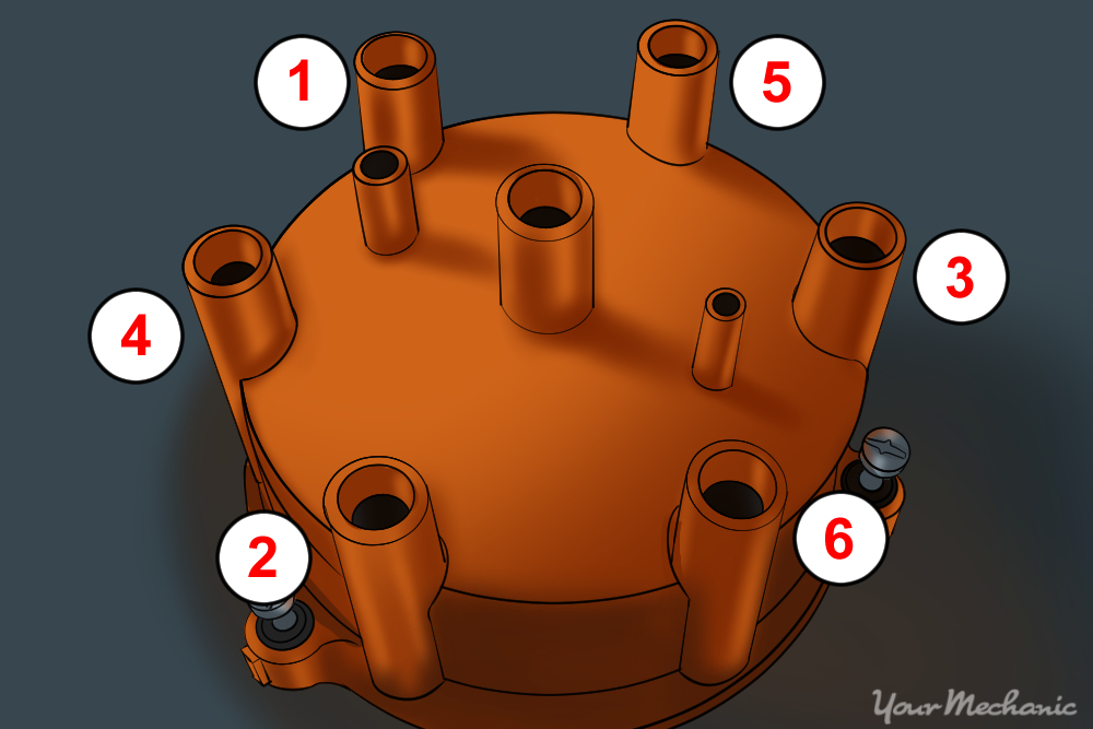 distributor cap numbered for disassembly and assembly