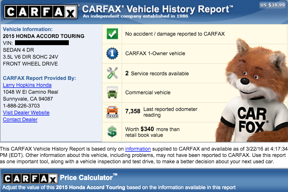 car fax vehicle report