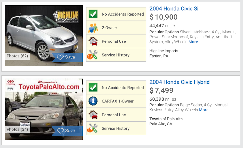 screenshot of used car listings