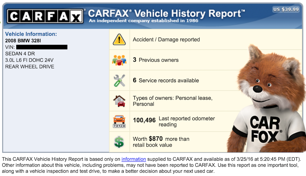 carfax bmw report