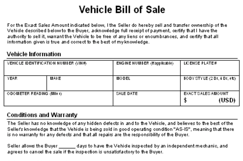 Bill Of Sale Agreement  Private Owner Car Sale Contract