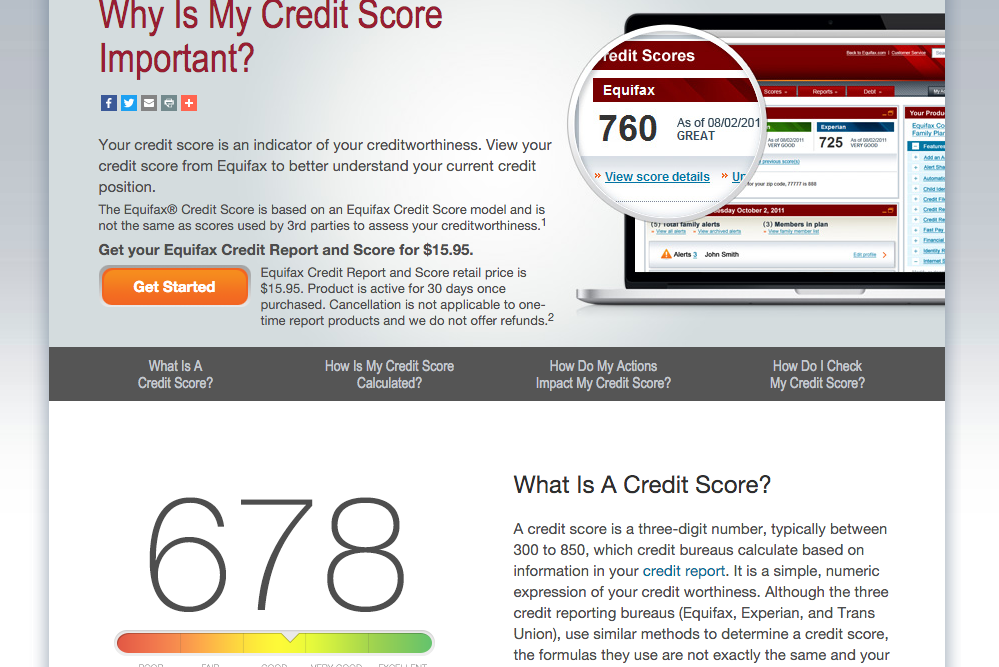 equifax credit report screenshot