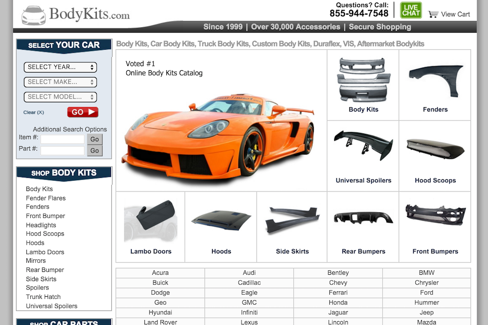 bodykits.com site homepage