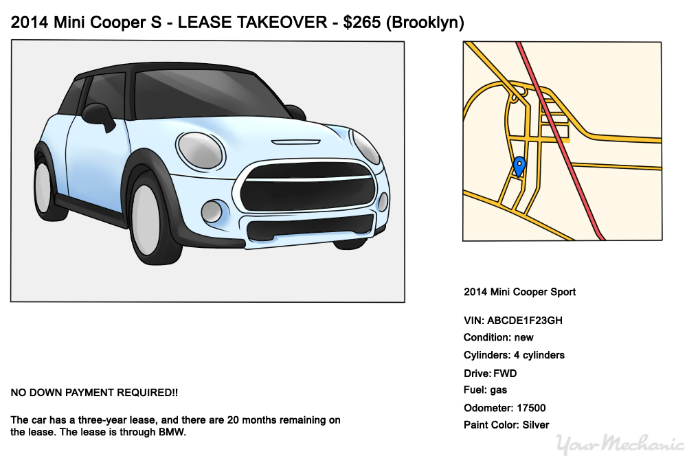 example of car on website with lease take over