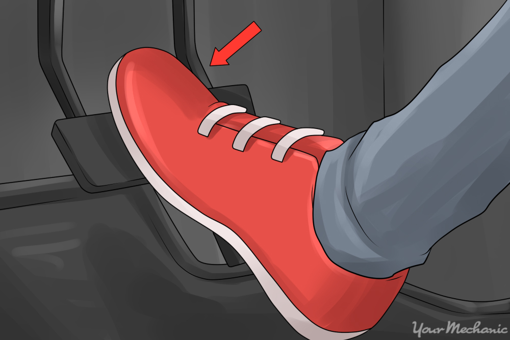 foot pressing down on brake pedal