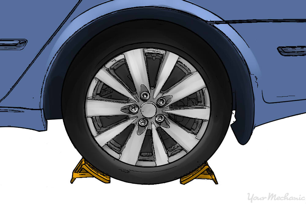 vehicle parked on a level surface with wheel chocks around the rear tire