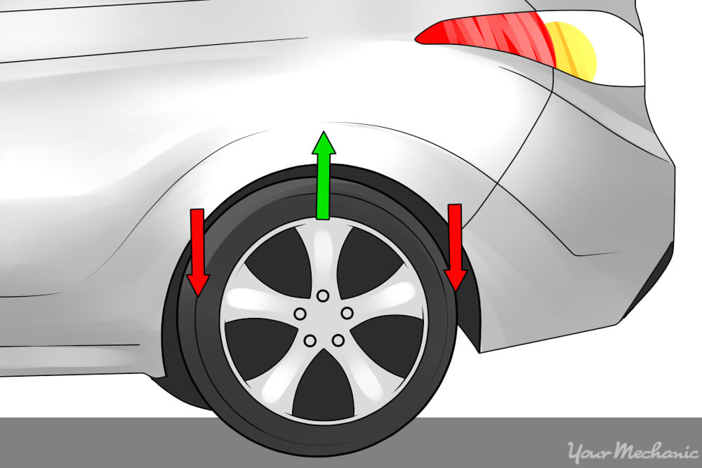 arrows showing shock movement of car