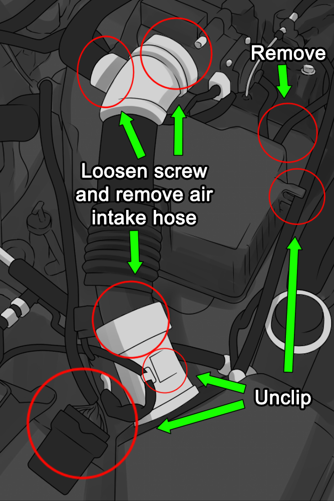How To Clean An Idle Air Control Valve Intake Hose Inside Engine With Circles Labeled As Below on 2002 Elantra Engine
