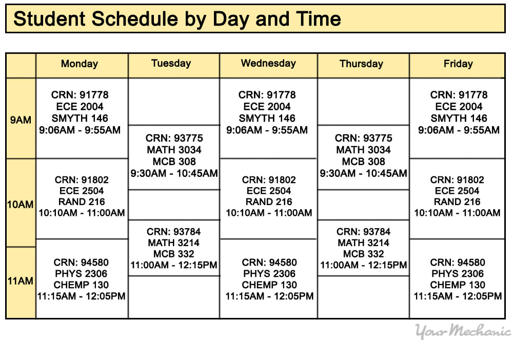 college class schedule mapped out
