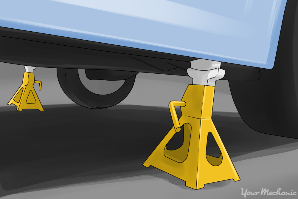 jack stands raising and securing car
