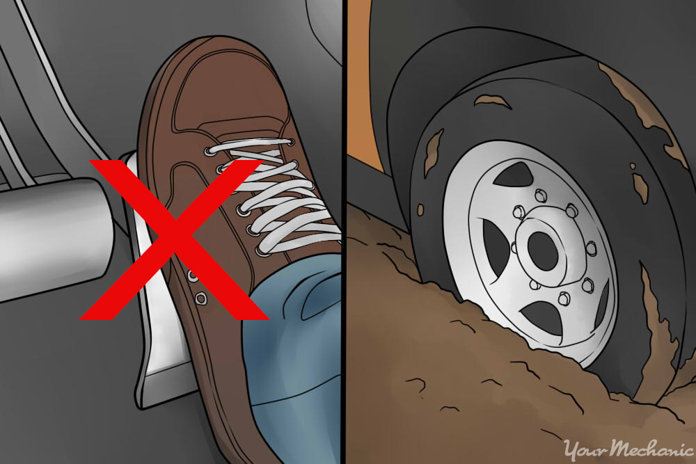 foot pressing on gas pedal indicating that driver should go slowly