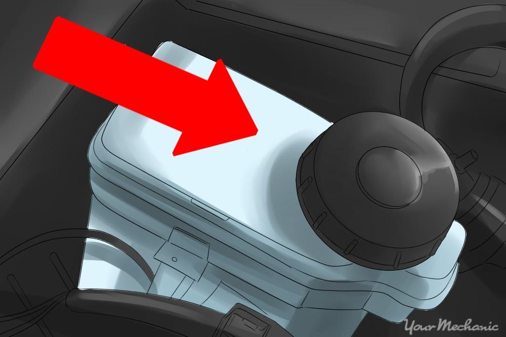 arrow pointing out brake fluid reservoir cap