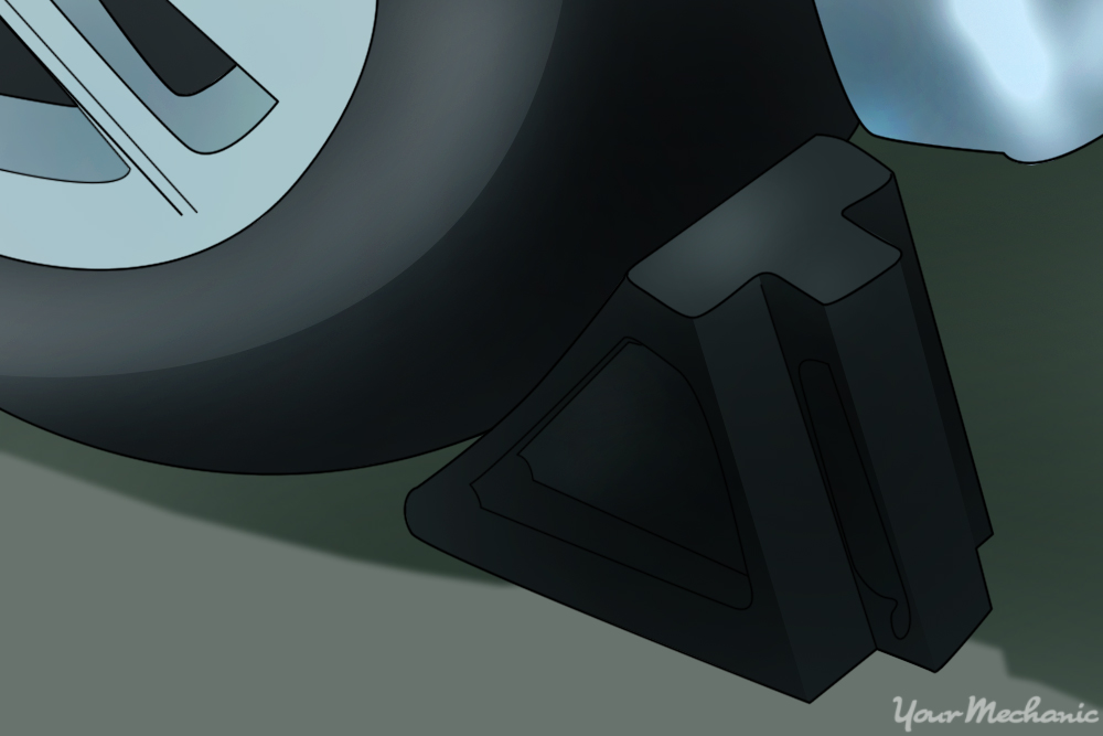 wheel chocks around a tire