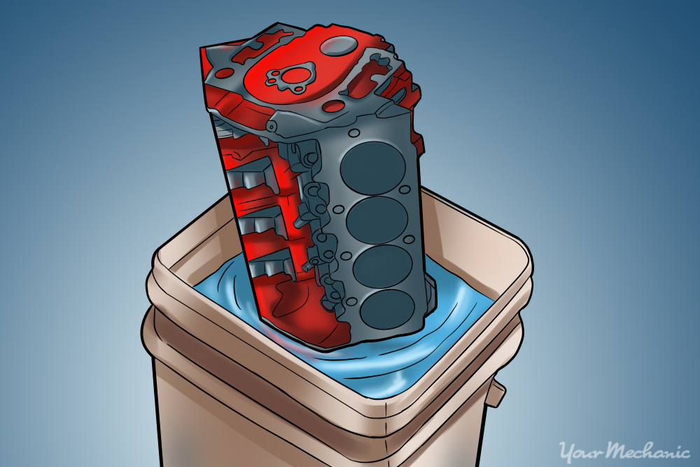 cylinder head in tub to collect cleaner