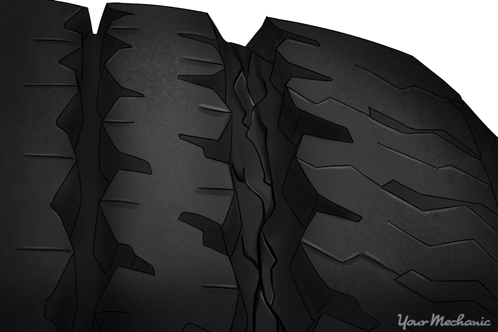 cracking in tire tread upclose