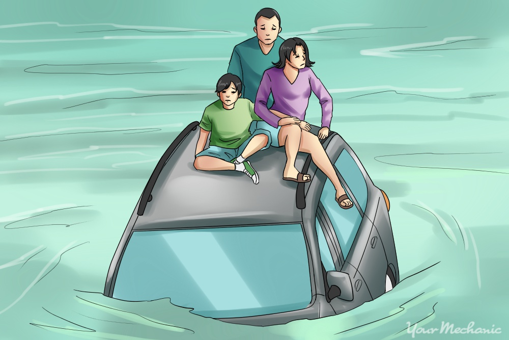 family sitting on top of car