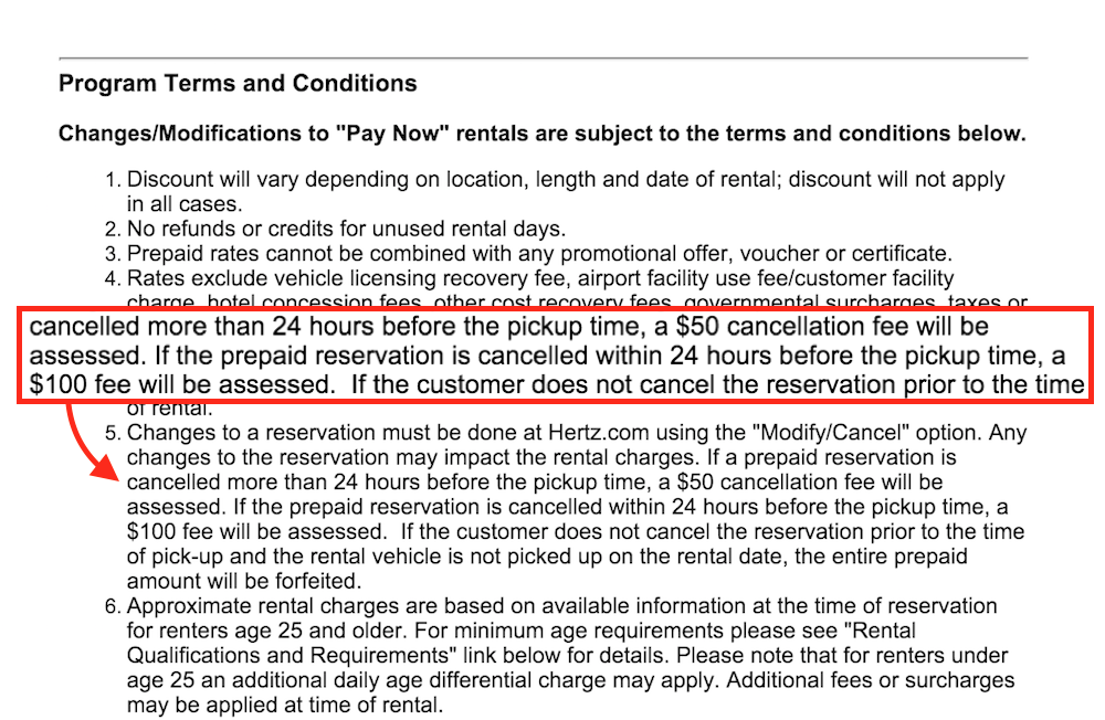 hertz cancellation fees