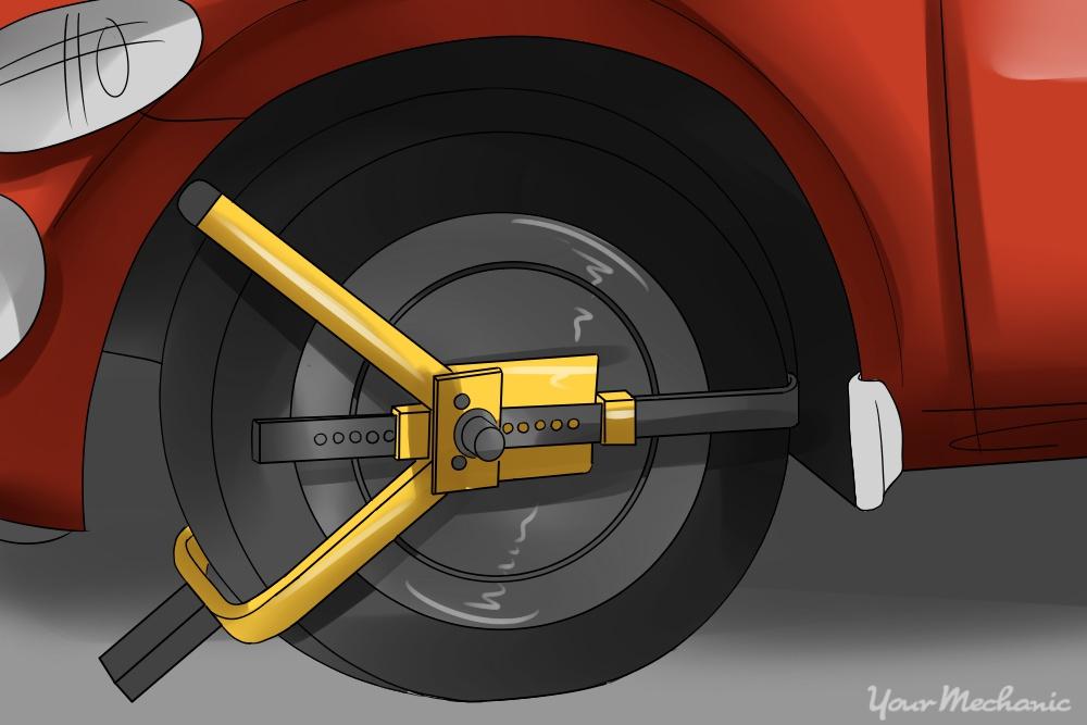 yellow tire lock installed