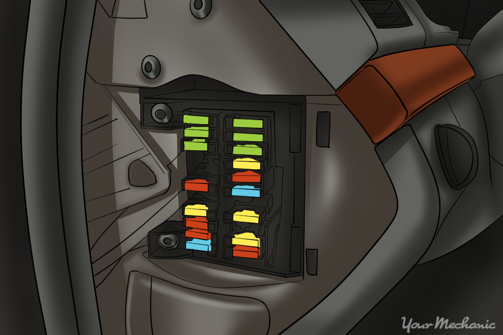 picture of a fuse box inside the cab beneath the dashboard