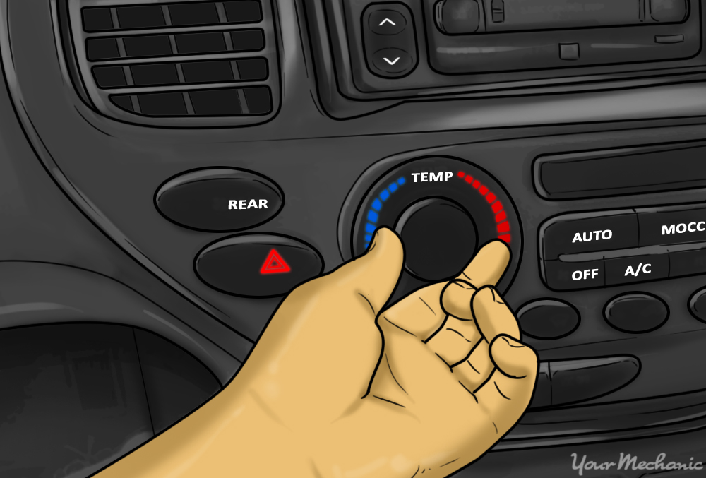 person controlling the A/C of their car