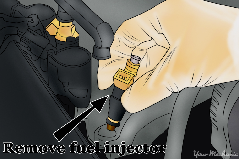 fuel injector being removed