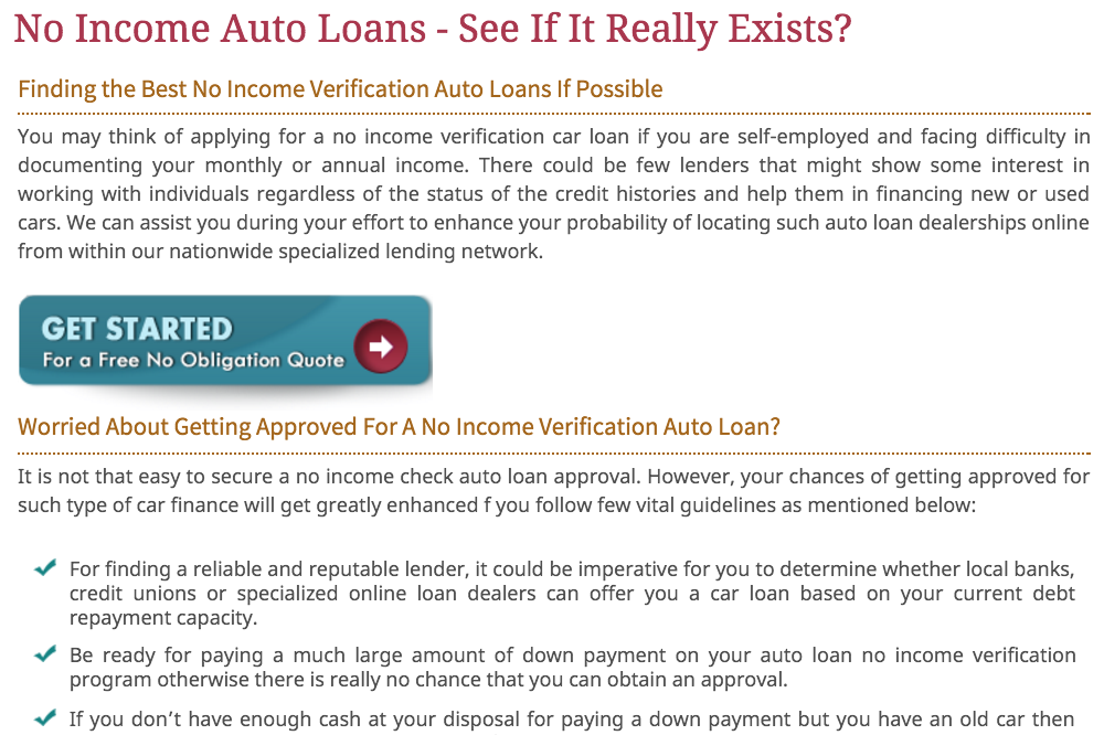 no income loan page