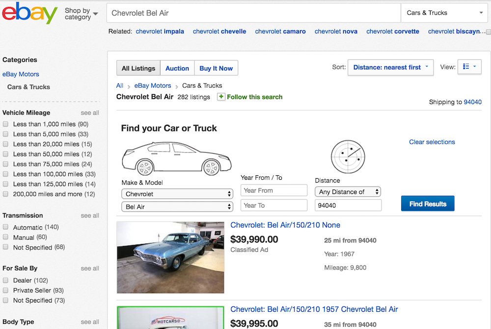 ebay with classic chevy listing