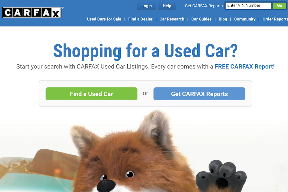 carfax site screenshot