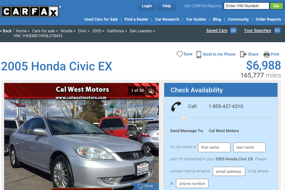 carfax for 2005 honda civic