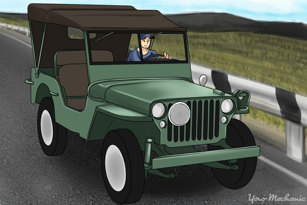 person driving a CJ-5