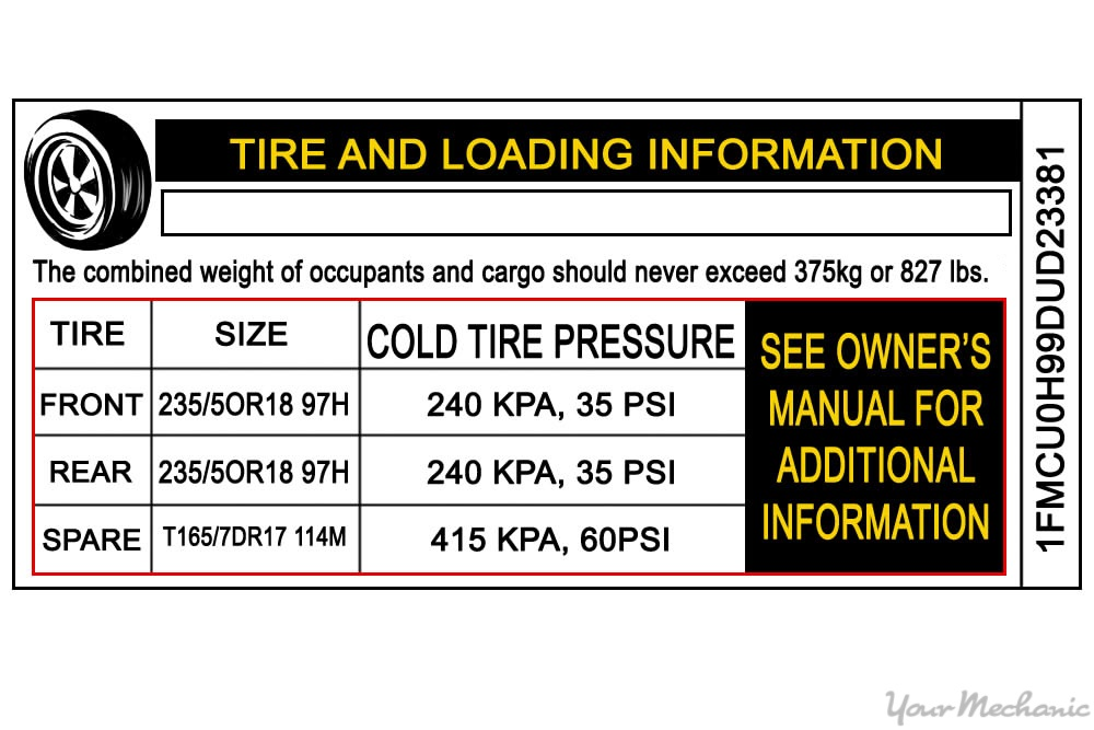 placard with car tire information
