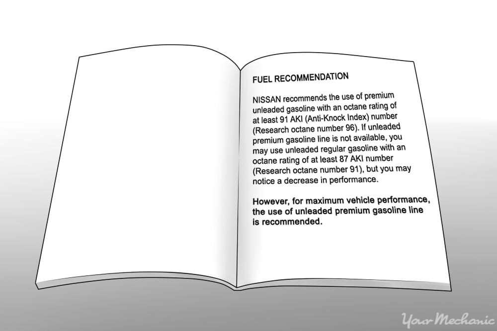 nissan owners manual showing recommendation