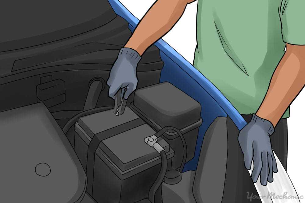 car battery being installed into car