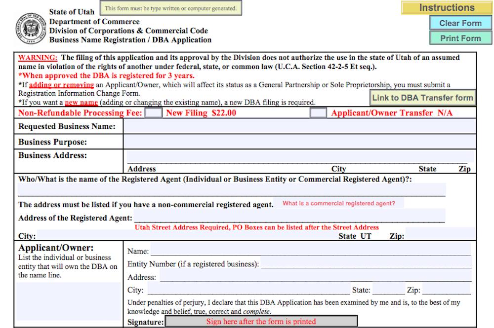 DBA form