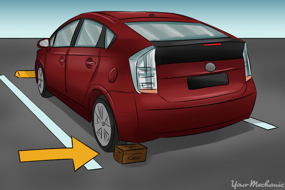 car parked on flat surface with wheel chocks behind rear tires