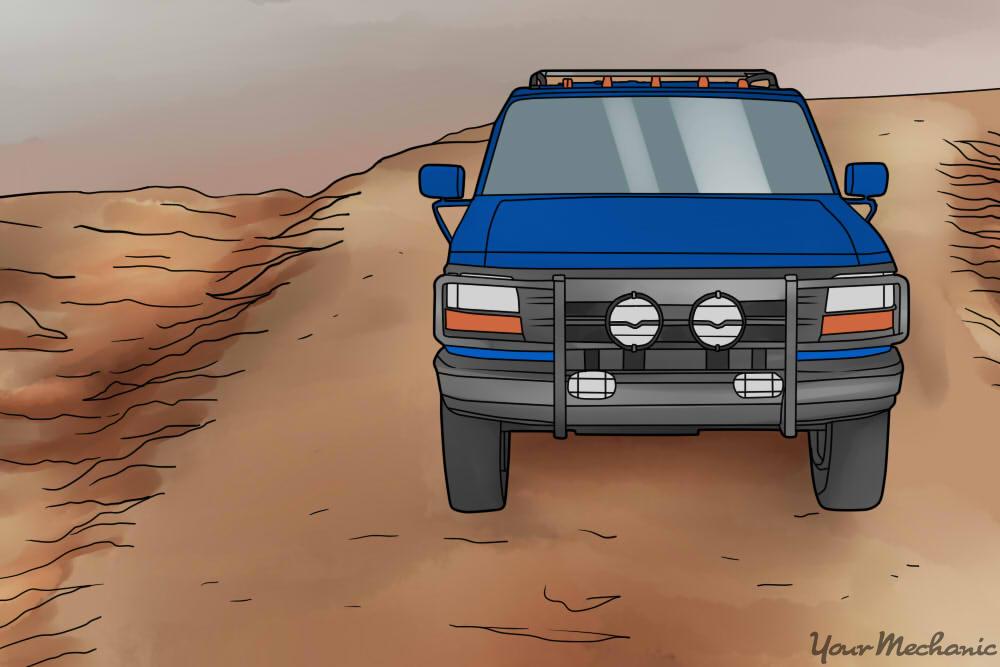 truck driving on the high road, avoiding ruts