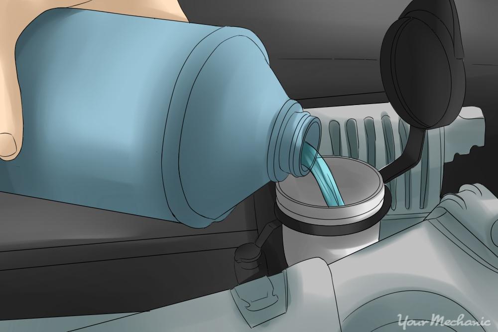 person pouring fluid into reservoir