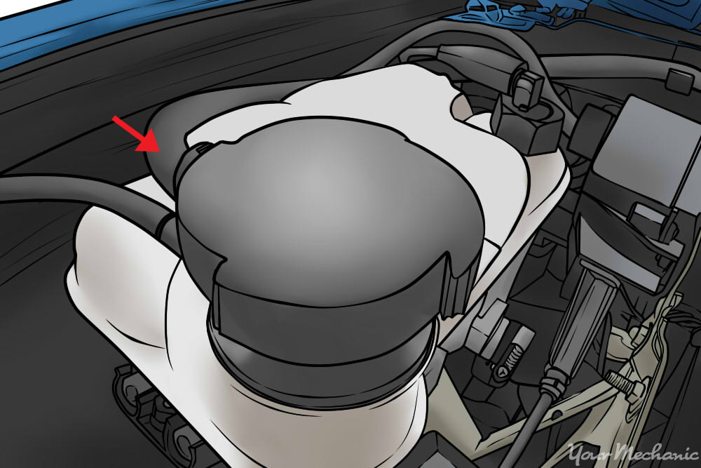 coolant reservoir closeup with arrow pointing to hose