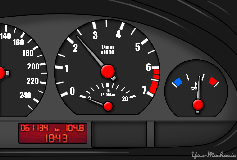 picture of instrument cluster with a green circle highlighting the temperature gauge showing engine is at normal operating temperature