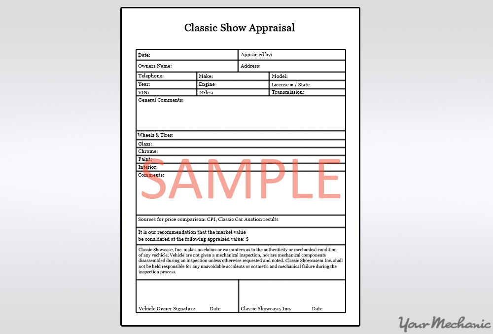 sample car appraisal form