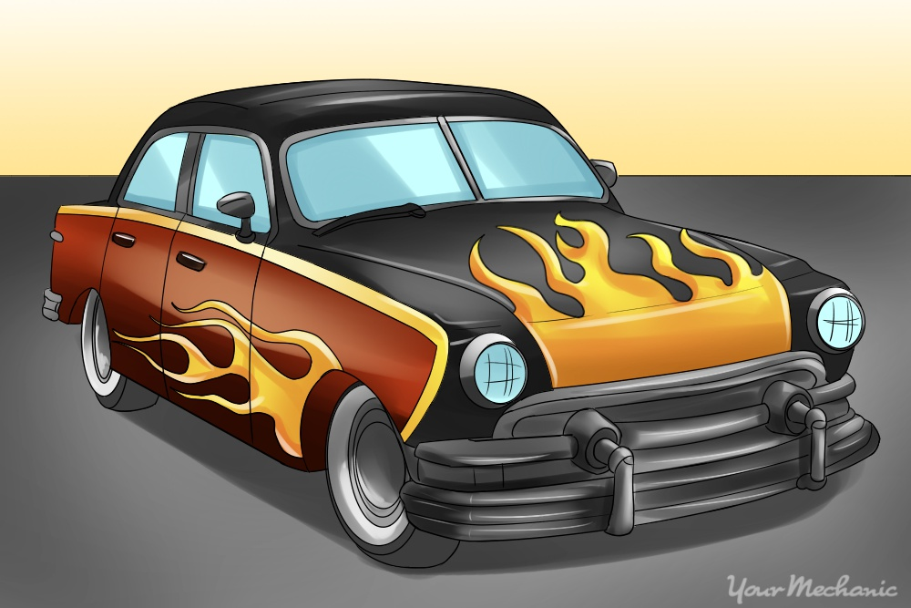 classic car with flame paint job